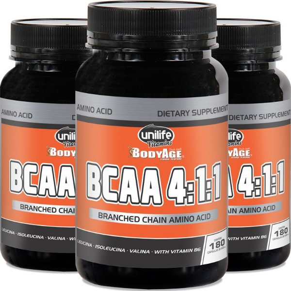 Kit 3 BCAA 4:1:1 630mg Unilife 180 cápsulas