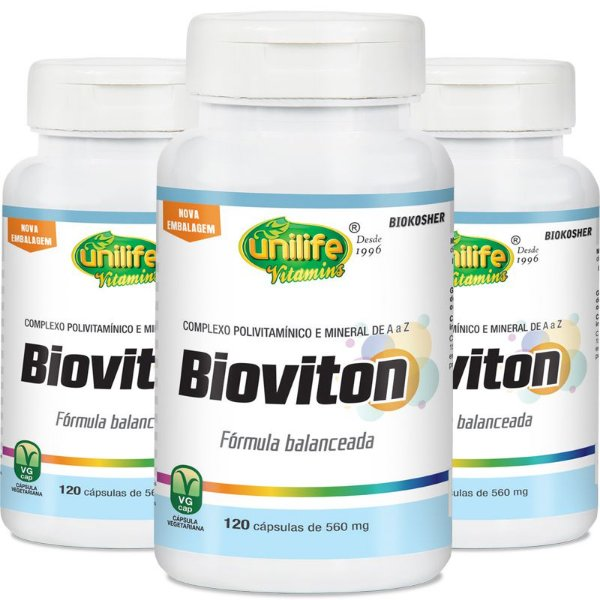 Kit 3 Bioviton Multivitamínico Unilife 120 cápsulas