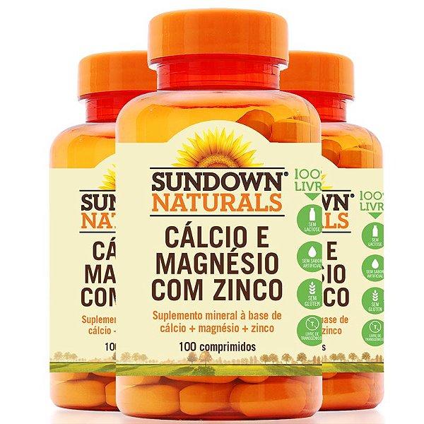 Kit 3 Cálcio magnésio e zinco Sundown 100 comprimidos