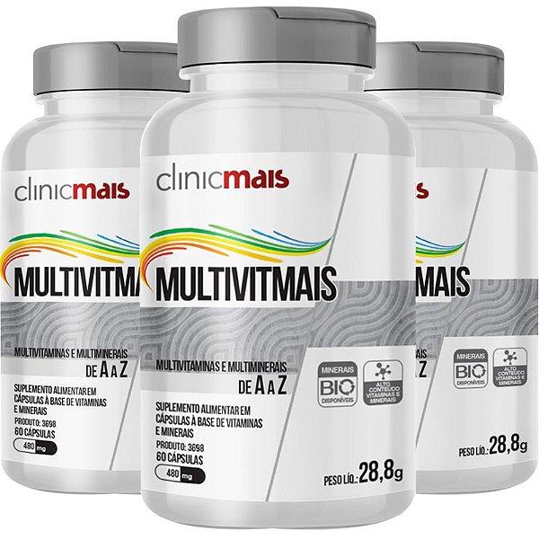 Kit 3 Multimais Polivitamínico 550g Chá mais 120 cápsulas