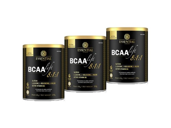KIT 3 BCAA LIFT 8:1:1 NEUTRO ESSENTIAL NUTRITION 210G