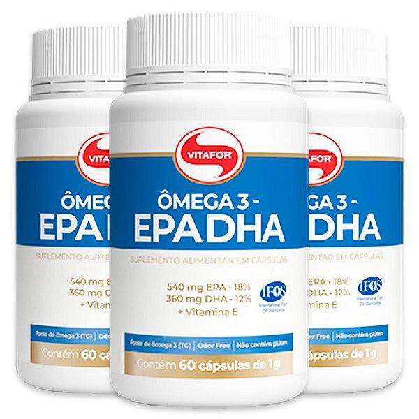 Kit 3 Ômega 3 EPA DHA 1000mg Vitafor 60 cápsulas