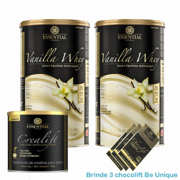 Kit massa muscular - 2x Vanilla whey 900g e Creatina Essential Nutrition