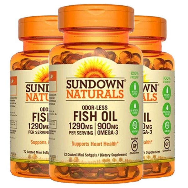 Kit 3 Fish Oil Odorless Óleo de Peixe 1290mg Sundown 72 Cápsulas