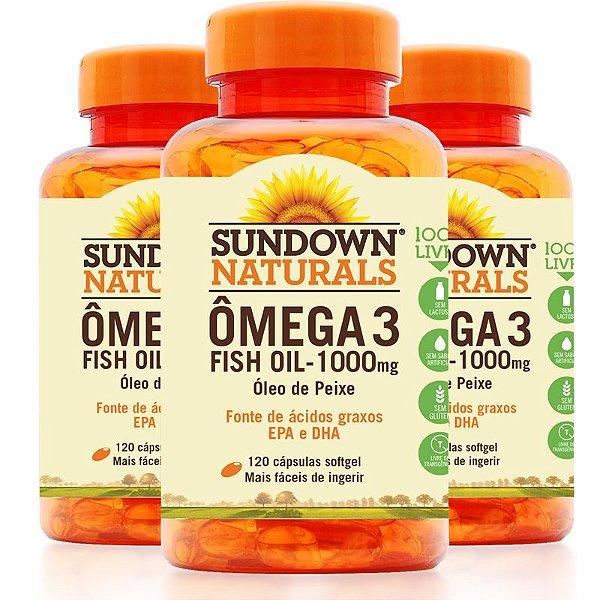 Kit 3 Fish Oil Óleo de Peixe 1000mg Sundown 120 Cápsulas