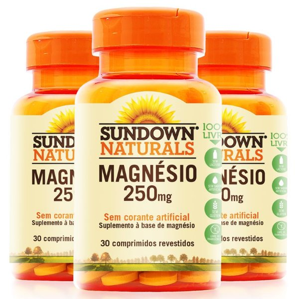 Kit 3 Magnésio 250mg Sundown 30 Comprimidos