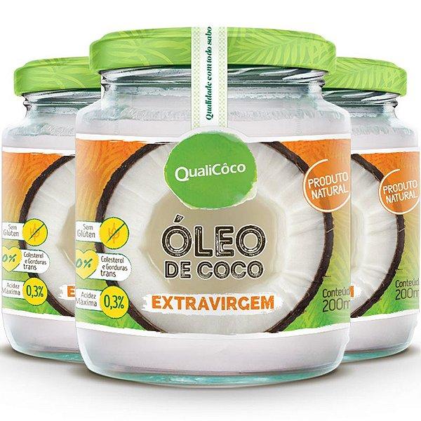 Kit 3 Óleo de Coco Extra Virgem 200ml Qualicôco