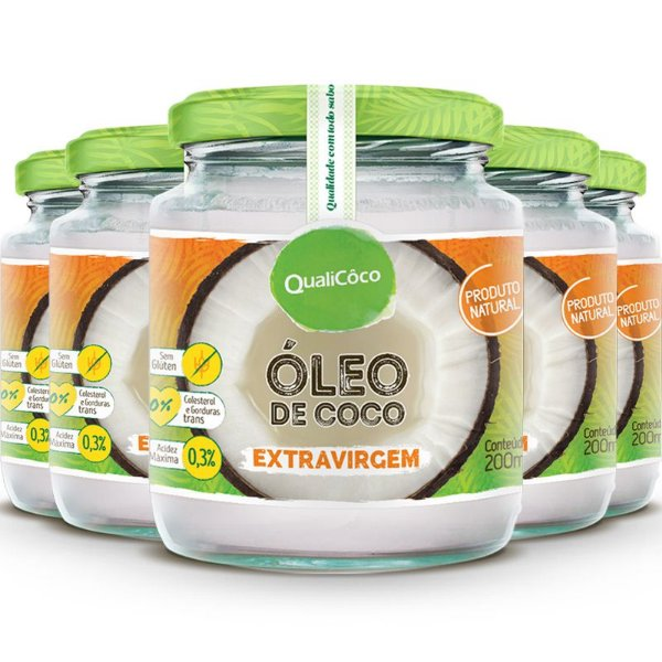 Kit 5 Óleo de Coco Extra Virgem 200ml Qualicôco