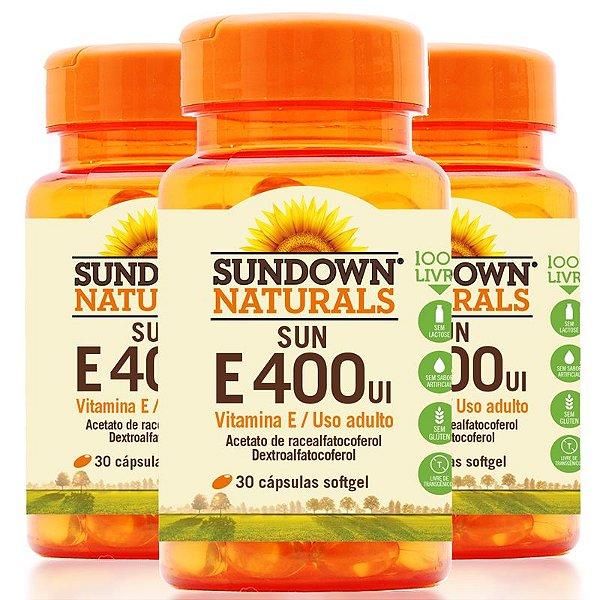 Kit 3 Vitamina E 400 Ui Sundown 100 Cápsulas