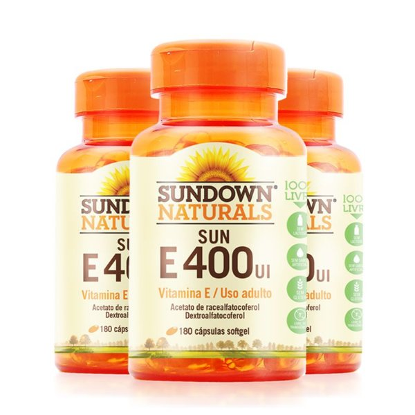 Kit 3 Vitamina E 400 Ui Sundown 180 Cápsulas