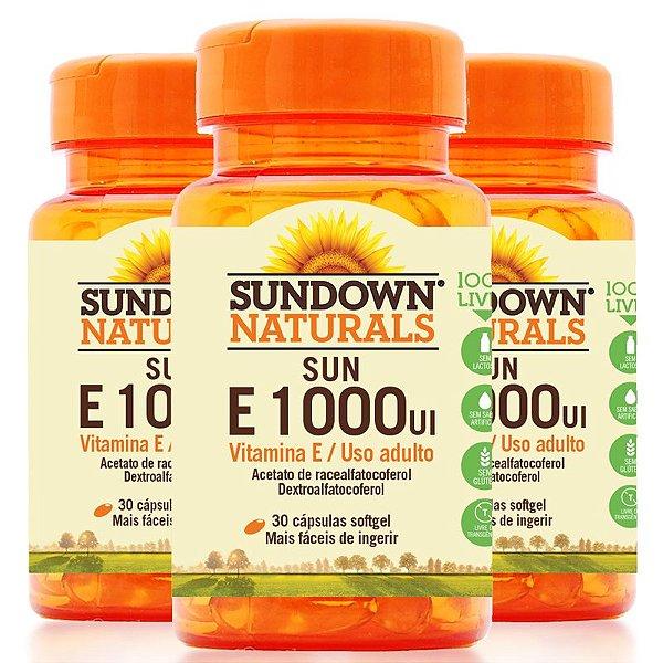Kit 3 Vitamina E 1000 Ui Sundown 30 Cápsulas