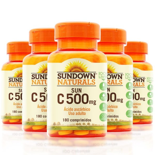 Kit 5 Vitamina C 500mg Sundown 180 Tablets