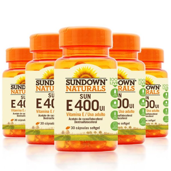 Kit 5 Vitamina E 400 Ui Sundown 100 Cápsulas