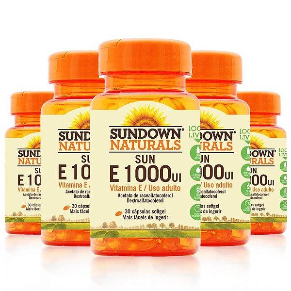 Kit 5 Vitamina E 1000 Ui Sundown 30 Cápsulas