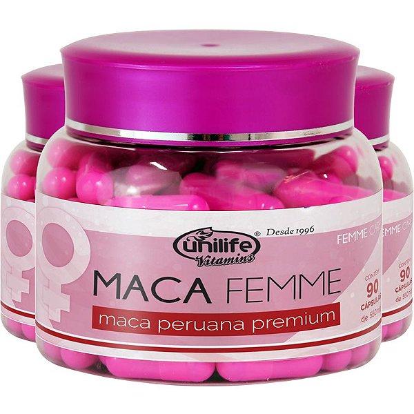 Kit 3 Maca Femme 560mg Maca Premium Unilife 90 Cápsulas