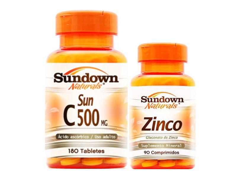 Kit Vitamina C 180 Cáps + Zinco 90 Cáps Sundown