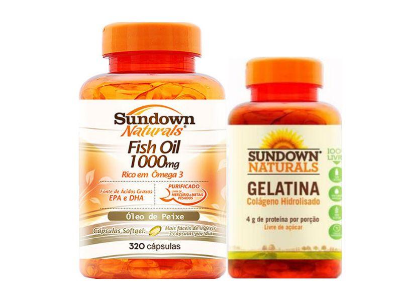 Kit Ômega 3 Fish Oil 320 Cáps + Colágeno 75 Cáps Sundown
