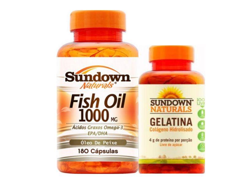 Kit Ômega 3 Fish Oil 180 Cáps + Colágeno 75 Cáps Sundown