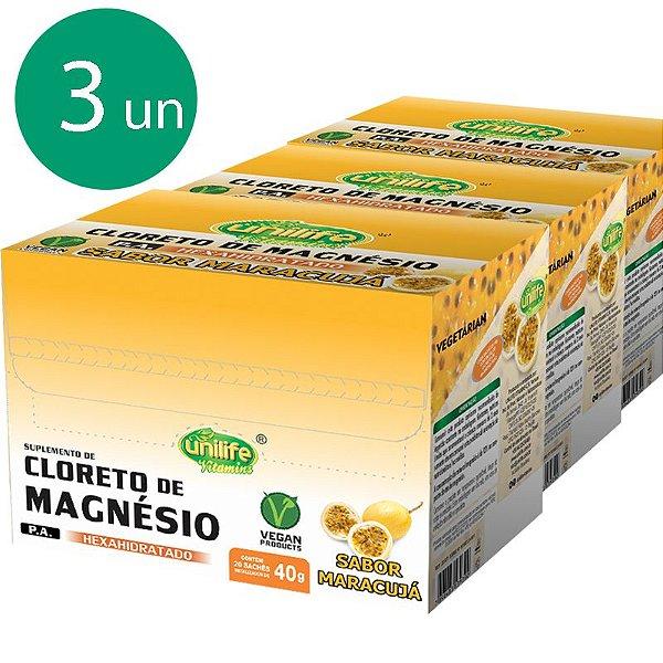 Kit 3 Cloreto de Magnésio 40g Unilife Sabor Maracujá