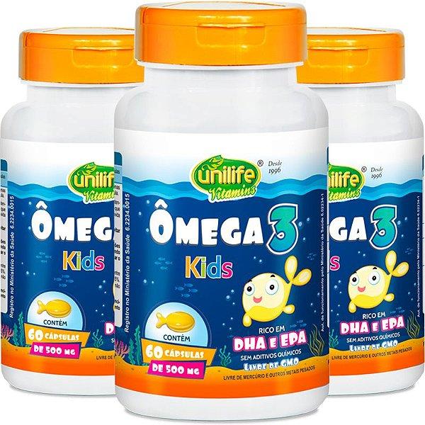 Kit 3 Ômega 3 Kids 500mg Unilife 60 Cápsulas