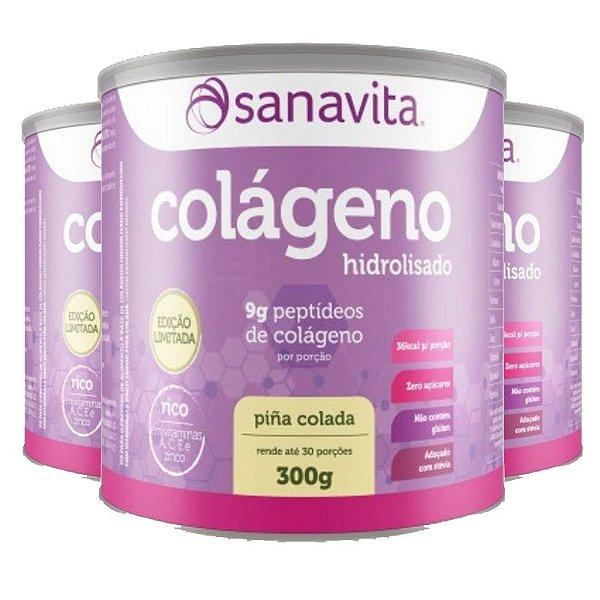 Kit 3 Colágeno hidrolisado pina colada Sanavita 300g