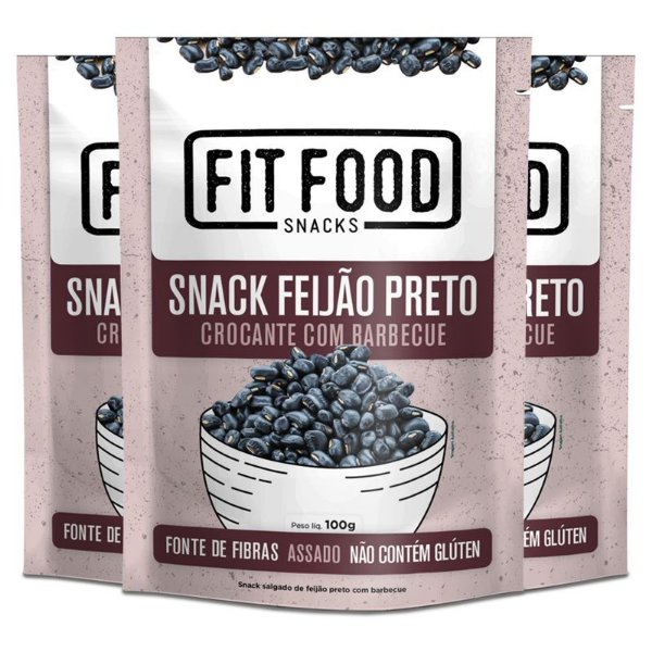 Kit 3 Snack Feijão Preto Barbecue Fit Food 100g