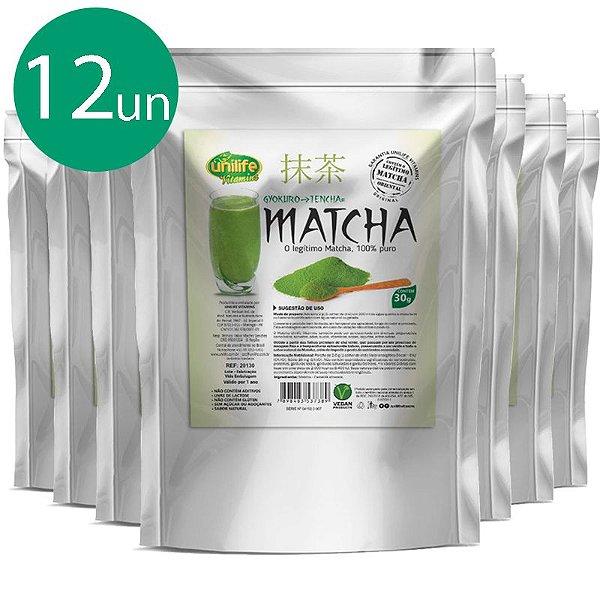 Kit 12 Matcha Puro Sóluvel Unilife 30g