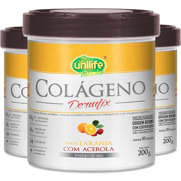 Kit 3 Colágeno Hidrolisado Dermfix Laranja com Acerola Unilife 200g