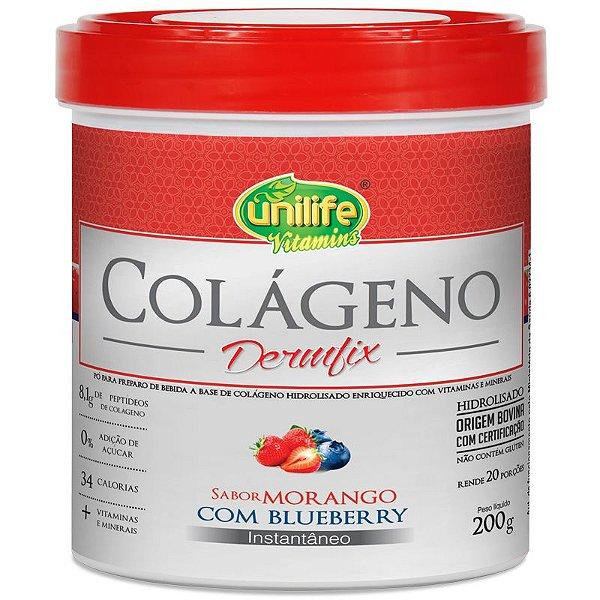 Colágeno Hidrolisado Dermfix Morango com Blueberry Unilife 200g