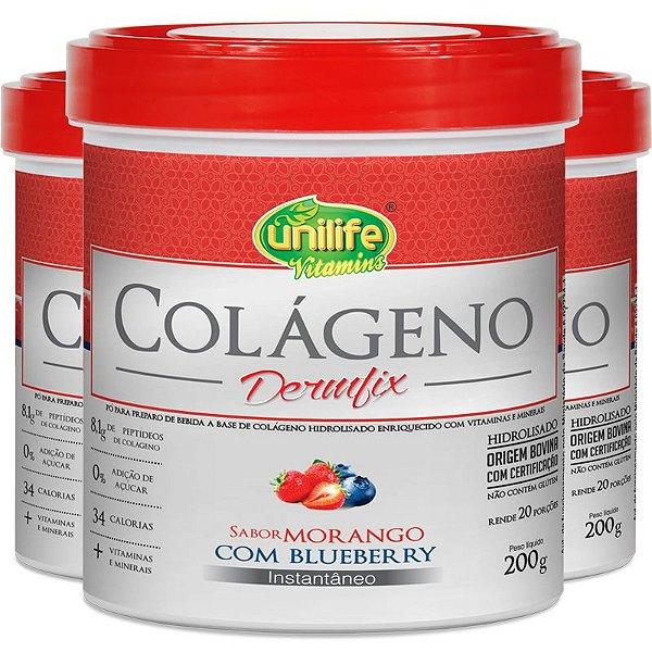 Kit 3 Colágeno Hidro Dermfix Morango com Blueberry Unilife 200g