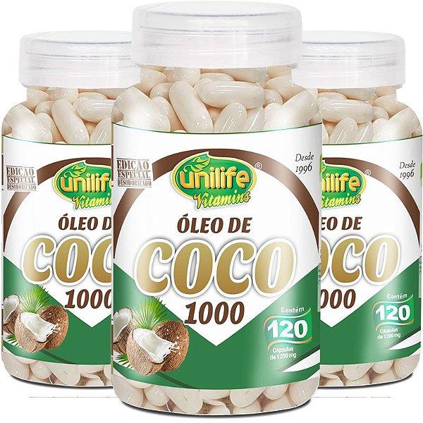 Kit 3 Óleo de Coco Unilife 120 Cápsulas