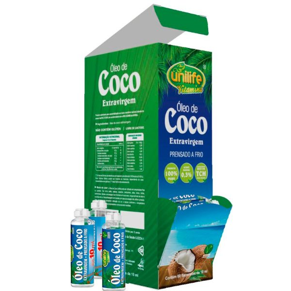 Óleo de Coco Extra Virgem com 60 Flaconetes 10ml Unilife 600ml