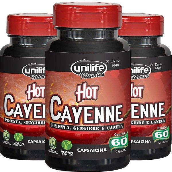 Kit 3 Pimenta Cayenne Hot Pimenta,Canela e Gengibre Unilife 60 Cápsulas