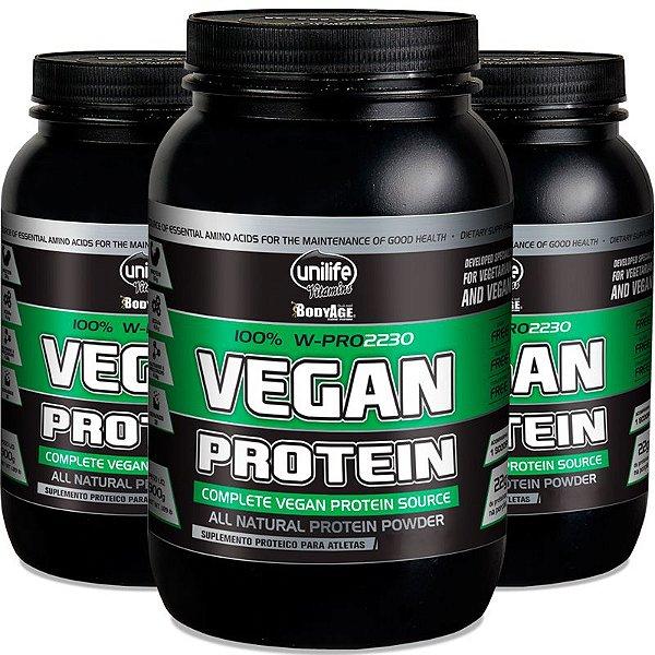 Kit com 3 Vegan protein Chocolate 900g proteína vegetal Unilife