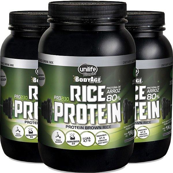 Kit 3 Rice protein Proteína de Arroz Unilife 1kg Chocolate