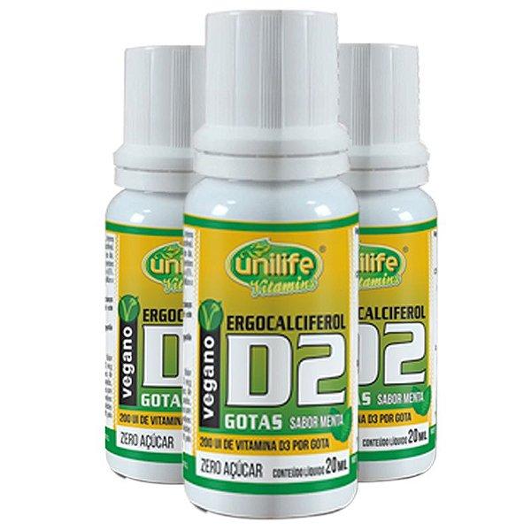 Kit com 3 Vitamina d2 em gotas 20ml Unilife