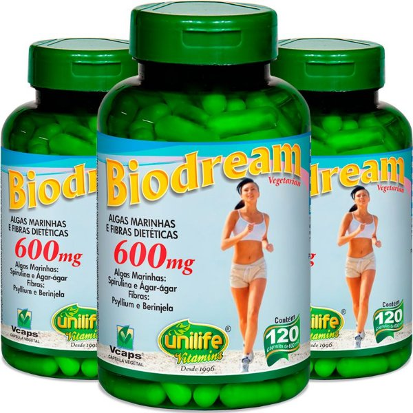 Kit com 3 Emagrecedor natural Biodream 120 cápsulas Unilife