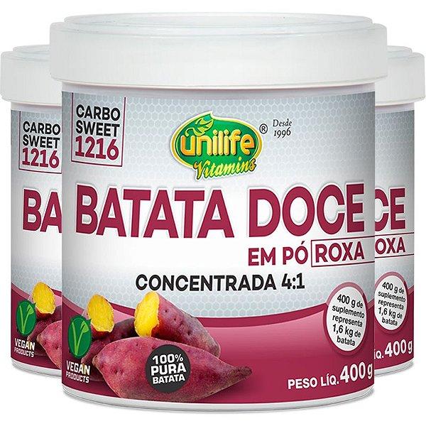 Kit com 3 Batata doce roxa em pó 100% pura 400g Unilife