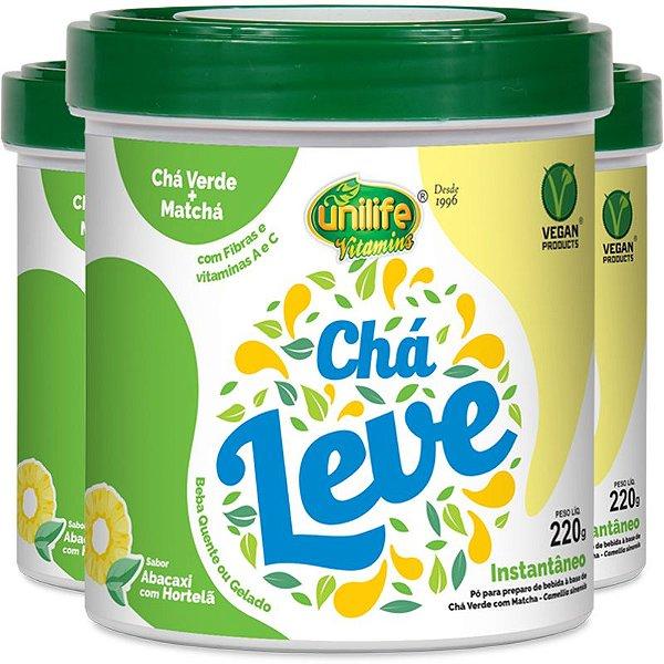 Kit com 3 chá verde e matcha leve 220g Unilife