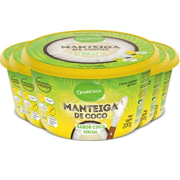 Kit 5 Manteiga de Coco Natural Qualicôco 200g