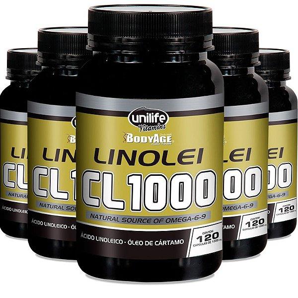 Kit 5 Linolei Cl 1000 Óleo de Cártamo Unilife 120 Cápsulas