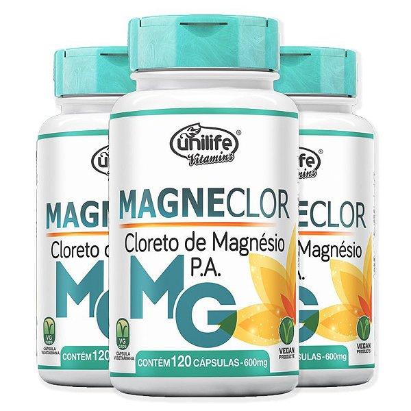 Kit 3 Cloreto de Magnésio P.A Magneclor Unilife 120 Cápsulas