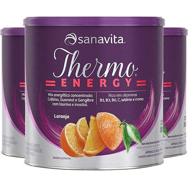 Kit 3 Thermo Energy Termogênico Sanavita 300g Laranja