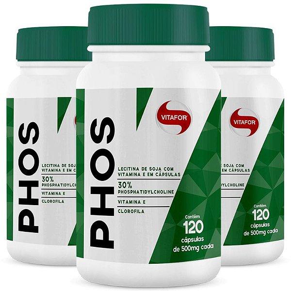Kit 3 Lecitina de Soja Phos Fosfatidilcolina Vitafor 120 cápsulas