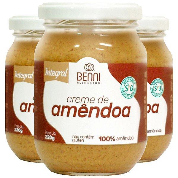 Kit 3 Creme de Amêndoa 220g Benni alimentos