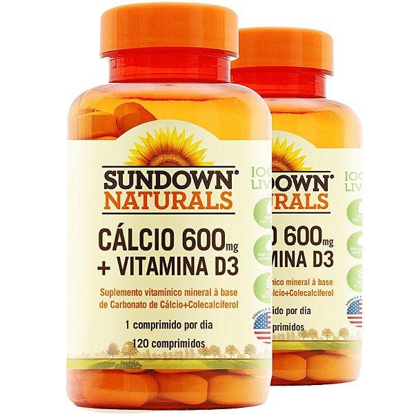 Kit 2 Cálcio 600mg + Vitamina D3 Sundown 120 Cápsulas