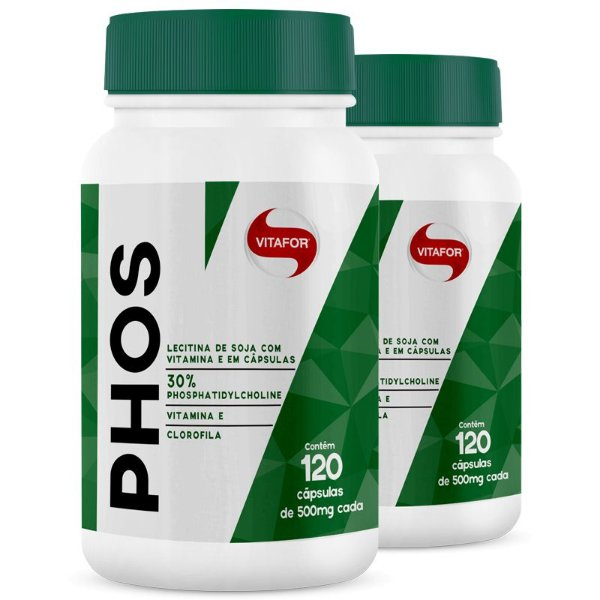 Kit 2 Lecitina de Soja Phos Fosfatidilcolina Vitafor 120 cápsulas
