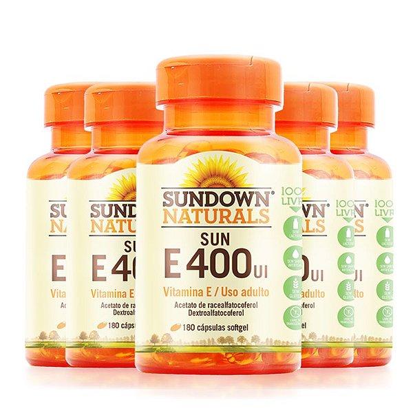 Kit 5 Vitaminas E 400 UI Sundown 180 cápsulas