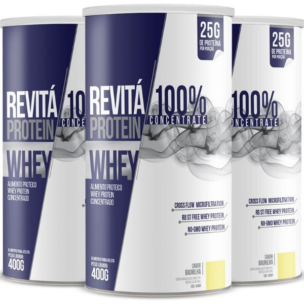 Kit 3 Whey protein concentrate 25G Revitá Baunilha 400G