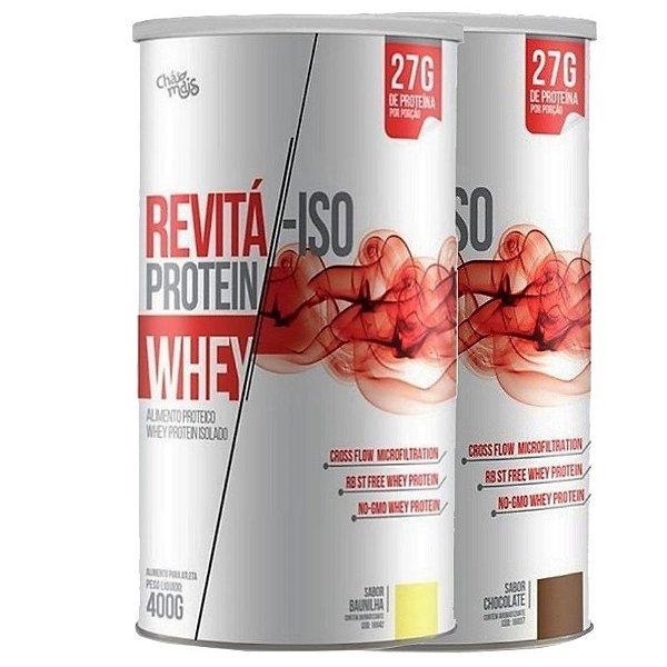 KIT 2 Whey Protein isolado 27G Revitá Chocolate e Baunilha 400G